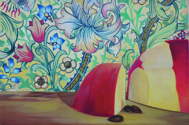"""Apfelstück"" Acryl auf Leinwand, 12x18cm, 2012"