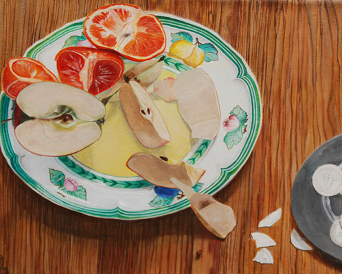 """Apfelsalat"" Acryl auf Leinwand, 30x24cm, 2011"