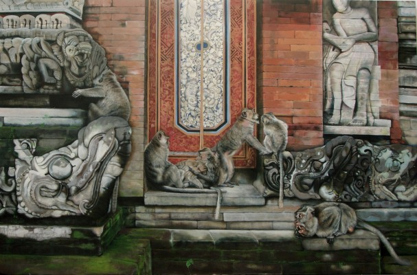 """""""Der Affentempel"""", Acryl auf Leinwand, 150 x 200 cm, 2012"""