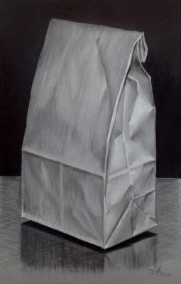 """""""Papiertüte"""" 2014, Farbstift und Marker auf Papier, 40x25cm"""