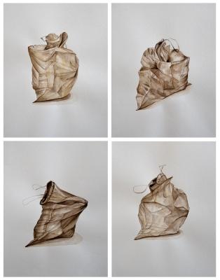 """""""Müllbeutel"""" (01 - 04) Aquarell auf Papier, 30 x 20 cm, 2014"""